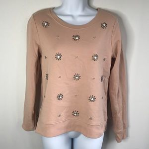 Loft Pink Decorated Sweater Size Small